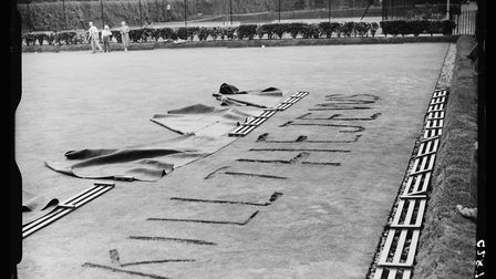 A fascist slogan cut into a bowling green in Tottenham in 1938. Picture: Getty Images