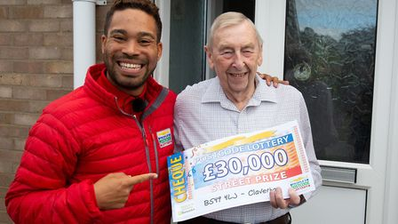 Danyl Johnson with Brian Parker. Picture: People's Postcode Lottery.