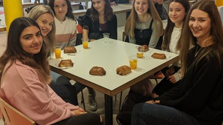 Students enjoying a free breakfast at Nailsea School.