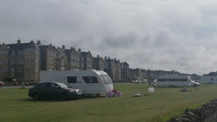 Trvallers have pritched up on Weston's Beach Lawns. Picture: Gareth Newnham