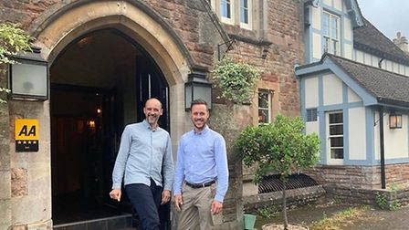 Tony De Brito and Matthew Lowe outsdie The Battleaxes. Picture: The Country Pub Group