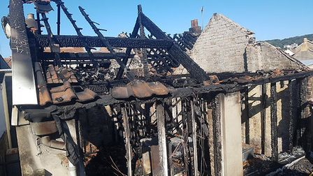 The property which was gutted by a fire in the early hours of this morning.