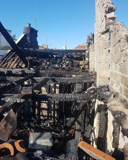 The fire took hold of two properties in North Lane.