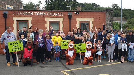 Campaigners outside Clevedon Town Council offices earlier this year. Picture: BBC
