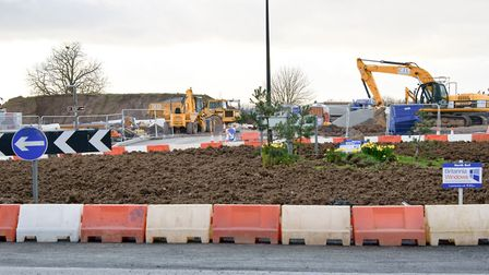 Roadworks at Arnolds Way roundabout in 2016 ahead of Bloor Homes' development.
