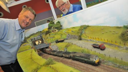 Peter West and John Langley from Somerset Railway Model club with their 00 guage. Picture: Jeremy Lo
