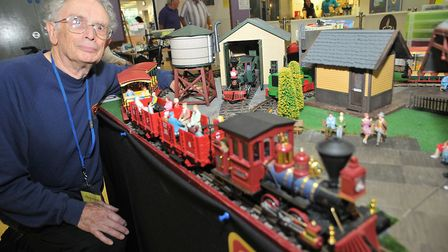 Mike Brown with a G-scale model of the Grizzly Flats Railroad. Picture: Jeremy Long