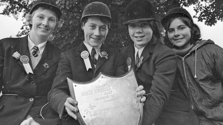 Stephen Urch with the Blackburn Shield for the best jumping pony, pictured with fellow competitors A