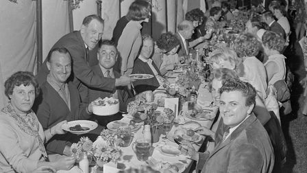 One of the many crowded tables at Hewish Harvest Home. Picture: WESTON MERCURY