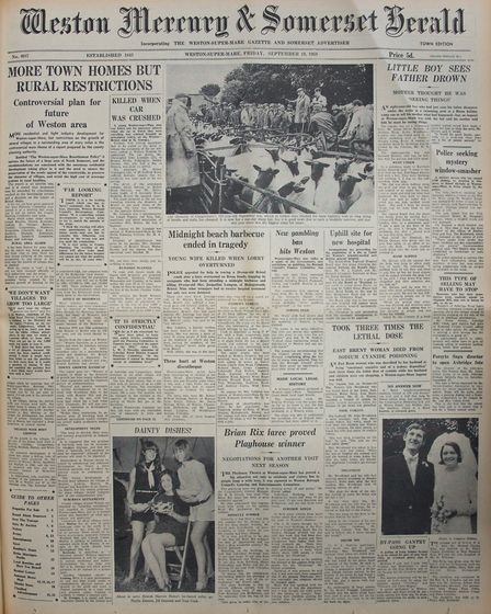 Front Page 19th September 1969 Edition. Picture: WESTON MERCURY