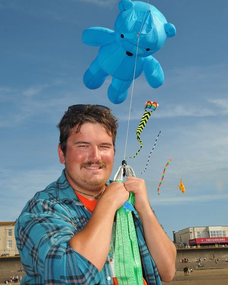 WIll Staniascek with his teddy bear kite. Picture: Jeremy Long
