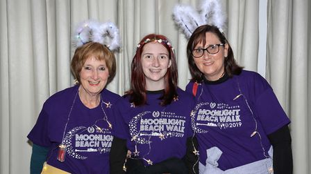 Fundraisers taking part in the Moonlight Beach Walk for Weston Hospicecare.
