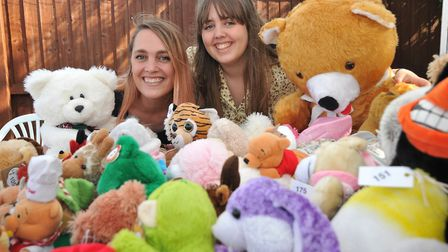 Zoe and Holly with Brent Knoll Animal Centres teddy tombola.Picture: Jeremy Long