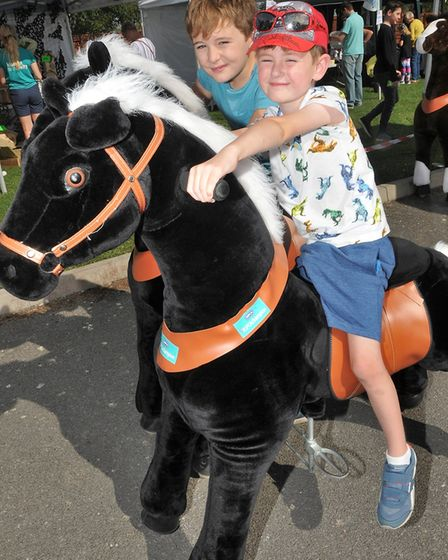 Alfie Ackroyd, aged five, and Sonny Spelman, aged seven, horse riding at Brent Knoll Animal Centre.