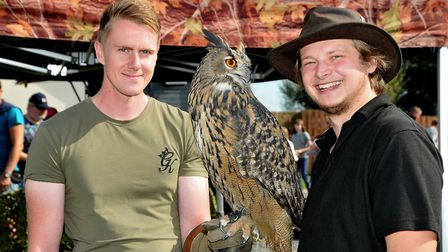 Tom Sno and Lee Jennings with Rolo the European Eagle Owl from Avon Owls. Picture: Jeremy Long