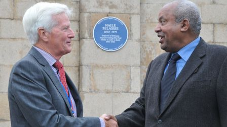 John Crockford-Hawley of the Civic Society with Selassie's grandson Prince Micheal Mekonnen. Picture