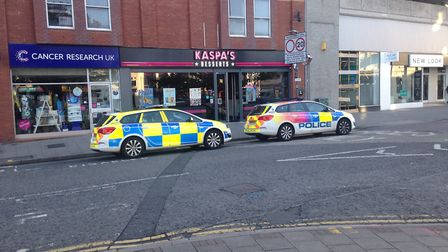 Police cars in Regent Street on Tuesday. Picture: Tom Wright