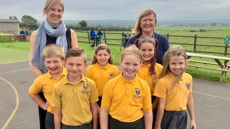 Ceri Wootten (left) and Heather Good (right) with pupils of Tickenham Primary School. Picture: Shane