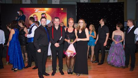 Winners Angie and Stuart with their dance teachers.