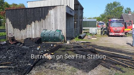 The shed was destroyed by the fire. Picture: Burnham Fire Station