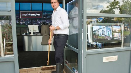 Mark Templer estate agents in Yatton High Street, was flooded at the weekend. Jake Goodliffe in well