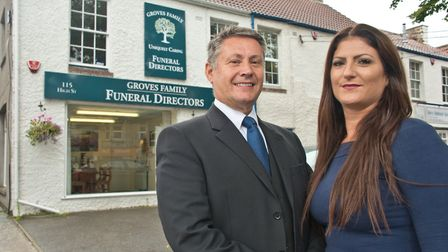Claire and Nigel Groves at Groves Funeral Directors. Picture: MARK ATHERTON