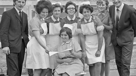 A group of nurses pictured before the prizegiving at Farliegh Mental Hospital by the Sandhill Park H
