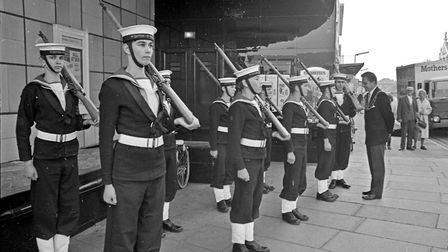 Members of Weston Sea Cadet Corps formed a guard-of-honour for the Mayor, Cllr. D. J. Driver, when h