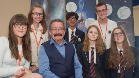 Professor Robert Winston pictured with Y11 and sixth form students at Gordano School. Picture: MA