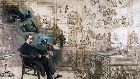 Charles Dickens pictured dreaming about the characters of his novels in a watercolour painting by Vi