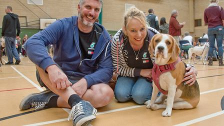 Green Pastures Vets' community dog day and show at Hutton Moor. Adam Cottle and Emma John with Jenny