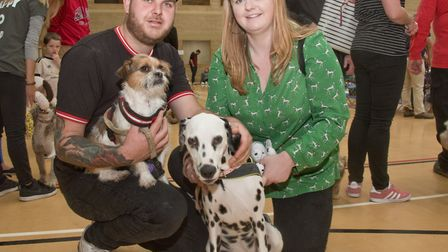 Green Pastures Vets' community dog day and show at Hutton Moor. Greg Clarke and Annie Sulivan with S