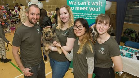 Green Pastures Vets' community dog day, Mike Edwards, Megan Haldare, Maggie Lau and Arrianne Scoins.
