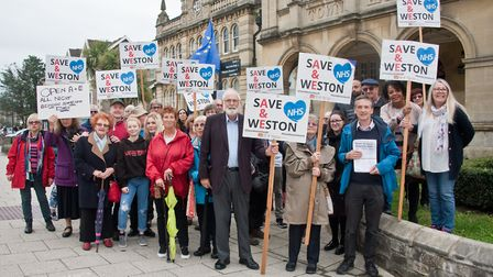 Save Weston A&E protesters gathered outside Weston Town Hall before the meeting. Picture: MARK AT