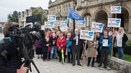 Protest outside the town hall by Save Weston A&E. Picture: MARK ATHERTON