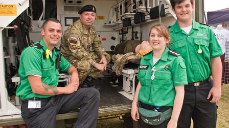 St John Ambulance volunteers Charlie Cook, Hannah Godfrey and William Bunce at Weston Air Festival i