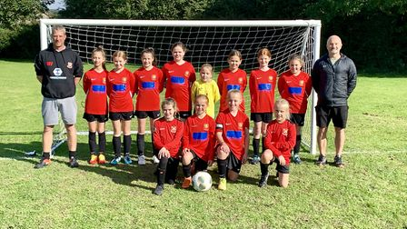 Clevedon United's under-11 girls face the camera