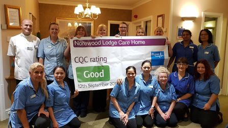 Norewood Lodge Care Home staff celebrating the positive report. Picture: Norewood Lodge