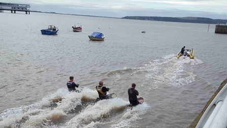 Surfers take advantage of the morning tide in Weston Bay.Picture: Robert Owen