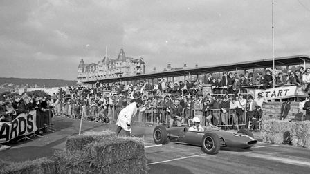 Spectators watching a competitor beginning his run at Weston-super-Mare Speed Trials organised by Bu