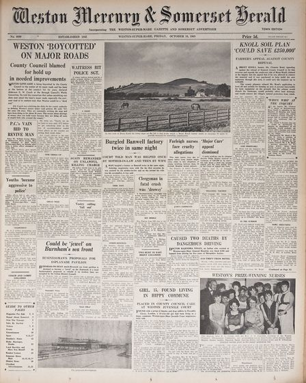 Front Page 10th October 1969 Edition. Picture: WESTON MERCURY