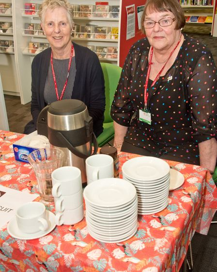 Refreshments provided by library volunteers Kay Hardy and Janet Starr. Picture: MARK ATHERTON