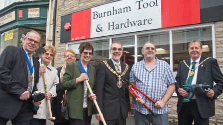 Shop owner Martin Hallier pictured with the Mayor Andy Brewer, mayoress Lorna Brewer, Chairman of Se