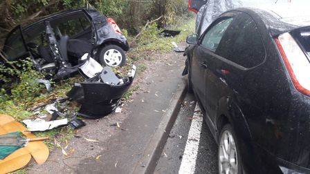 A three-car collision took place in Congresbury this morning.Picture: Weston Fire Station