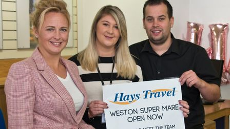 Former Thomas Cook staff, Sam Black, Louise James and Paul Doble now working for Hays Travel.