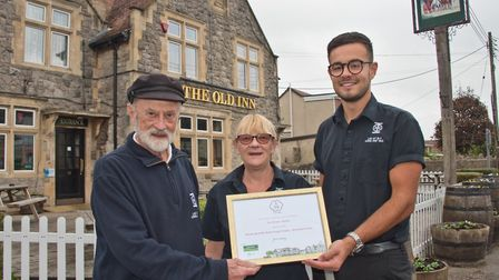 Owners of the Old Inn in Hutton John and Carol Hayes with manager Leo Dunkley and the runners up awa