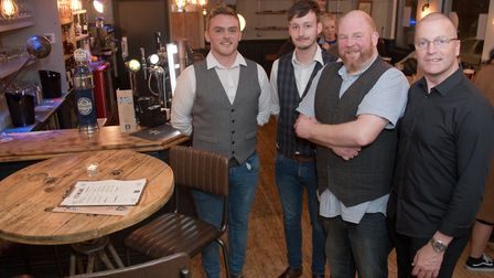 Opening of the Fork 'n' Ale pub, Rich Frost, Sean Cummings, Andy Bidmead and Dave Turner. Pict