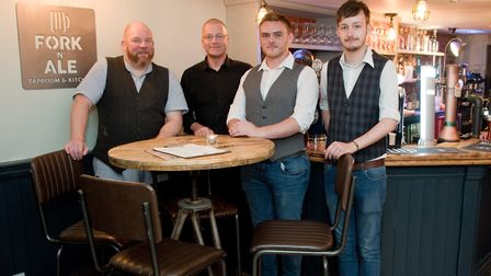 Opening of the Fork 'n' Ale pub, Andy Bidmead, Dave Turner, Rich Frost and Sean Cummings. Pict