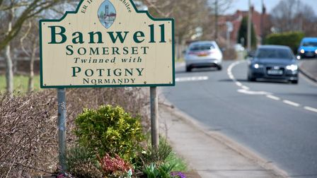Village sign on Knightcott Road, Banwell.