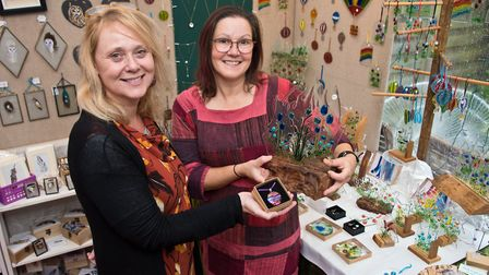 Glass artists Claire Hall and Sarah Wight at Paul & Renate O'Donnell Xmas crafts showcase at Claverh